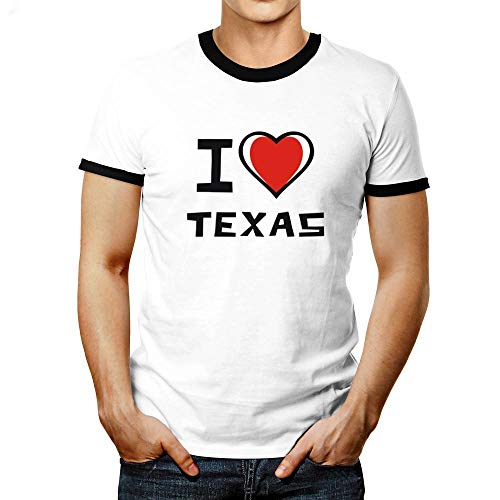 Idakoos I Love Texas Bicolor Heart Ringer T-Shirt M -