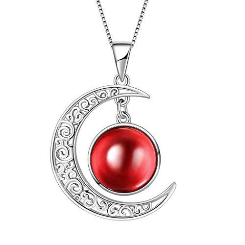 AuroraTears Januar Birthstone Halskette Erstellt-Granat Crescent Moon Anhänger Geburtstag Schmuck Geschenke Frauen 17.7