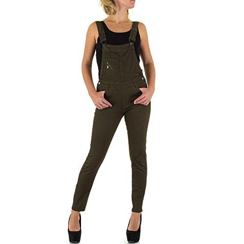 Damen Jeans Hose Jeanshosen Elastische Skinny Latzhose Latzjeans Khaki 36
