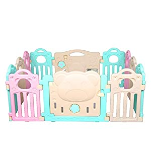 lyrlody Baby Playpen,Tent Indoor Baby Playpen Infant Kids Safety Fence Baby Safety Gates Fun Activity Centre Kids Toddlers Game Playing Safety Fence with Door Lock for Home Yard Outdoor   1