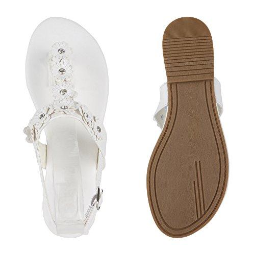Damen Dianetten | Blumen Sandalen Zehentrenner | Sommer Schuhe Flats | Beach Zierperlen Weiss Flowerlook