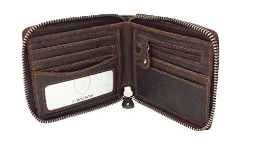 RFID Bloqueo Protección Marrón Desgaste De Cuero Genuino J Wilson London Mens ZipAround Cartera con Zip Coin Pocket Gift Boxed
