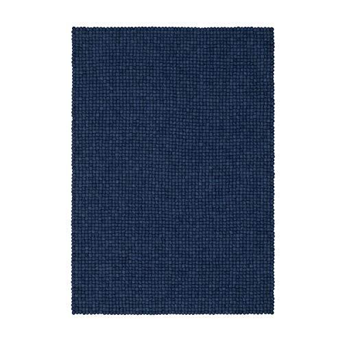myfelt Alva Filzkugelteppich eckig 170 x 120 cm - blau