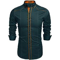 COOFANDY Camisa Hombre Verde Franela a Rayas Traje Formal Slim Fit Talla L