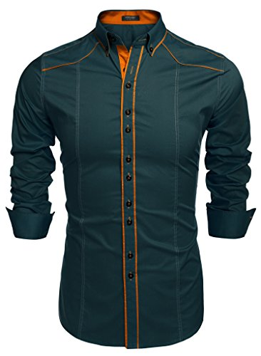 Coofandy camicie uomini casual cotone manica lunga colletto dritto button down verde m