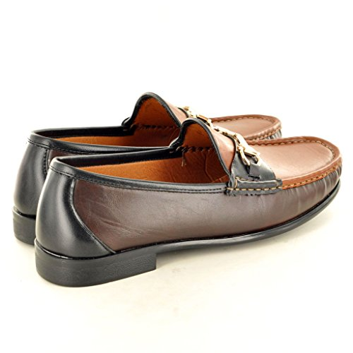 Herren Leder Look Casual Loafer Mokassins Slip auf Schuhe Brown/Coffee/Black