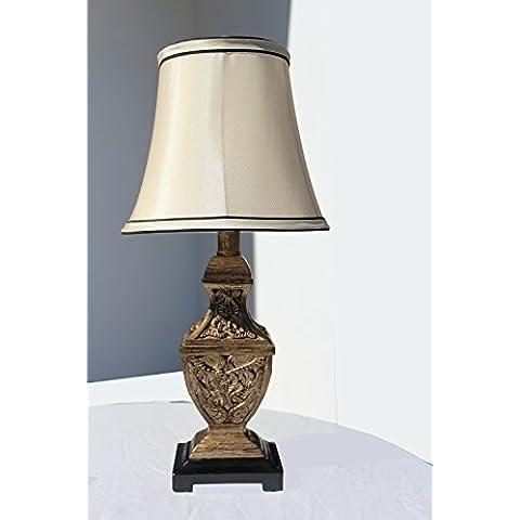 § § lampada da tavolo, scrivania, comodino, da tavolo. Design classico in resina dorata. Aspetto giapponese. Paralume–Tessuto Effetto Seta