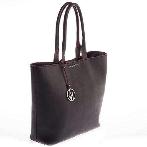 Armani  Bolso Shopping Eco Saffiano Ar, Sac bandoulière pour femme noir