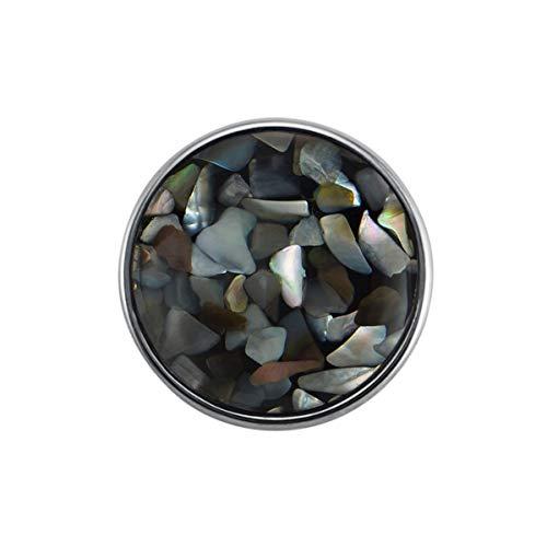 Quiges Damen Click Button 18mm Chunk Graue Muster Versilbert für Druckknopf Zubehör