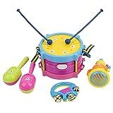 FTVOGUE Baby Roll Drum Niños Kit de Banda de Instrumentos Musicales Música Temprana Educación Tambor Trompeta Handbell Toy Set