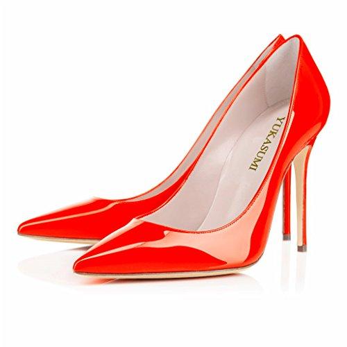 EDEFS Damenschuhe Faschion 10cm Gecollete Office High Heel Basic Pumps Schuhe Rot-P