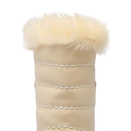 AllhqFashion Damen Rund Zehe Hoher Absatz Weiches Material Rein Stiefel Aprikosen Farbe