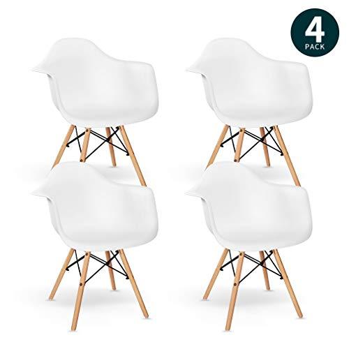 VADIM Esszimmerstühle 4er Set Weißen Küchenstühle mit Holz Beinen, Kunsthof Eiffel Wohnzimmerstühle mit Rückenlehne und Armlehne, Retro Design Esszimmerstuhl, Holz, Weiß