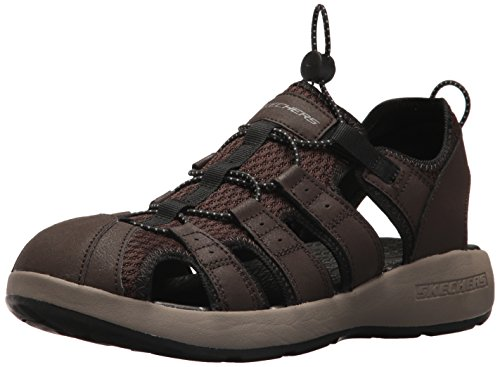 Skechers 51834', Sandalias de Punta Descubierta para Hombre, Marrón Brown Leather/Mesh/Black Trim...