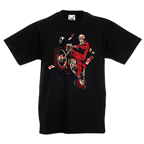 lepni.me Camisas para niños Motociclista - ropa de motocicleta, ropa retro (14-15 years Negro Multicolor)