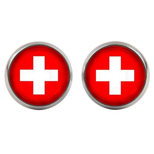 Ohrstecker - Cabochons - Schweiz Flagge - WM 2018 - versilberte Fassung 14mm - Handgemacht