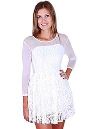 Kurzkleid aus Spitze mit Spitzenelementen Weiß
