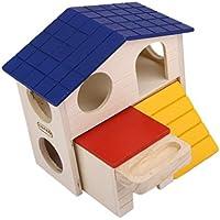 Hamster Mouse Gerbil - Escalera de madera de doble cubierta con agujero redondo de 4 cm de diámetro