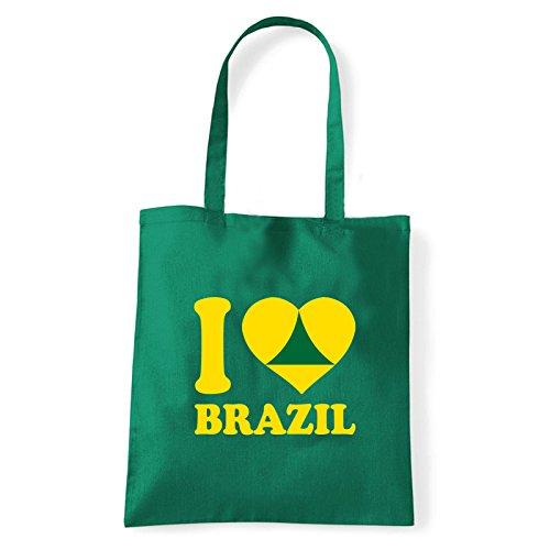 Art T-shirt, Borsa Shoulder I Love Brazil, Shopper, Mare Verde