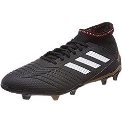 Adidas Predator 18.3 FG, Botas de Fútbol para Hombre, Negro (Negbás/Ftwbla/Rojsol 000), 43 1/3 EU