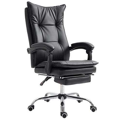 Vinsetto Drehstuhl Bürostuhl Chefsessel Bürosessel Schreibtischsessel rollbar höhenverstellbar gepolstert PU + Metall ergonomisch Schwarz 70 x 64 x (106-113) cm