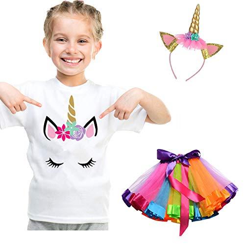 Altersgruppen Rock Kostüm Aller - NNJXD kleine Mädchen Einhorn Baumwoll-T-Shirt + Regenbogen Tutu-Rock + Kopfbedeckung, 3Pcs Sommer Outfit für Kinder Größe 5-7 Jahre Regenbogen