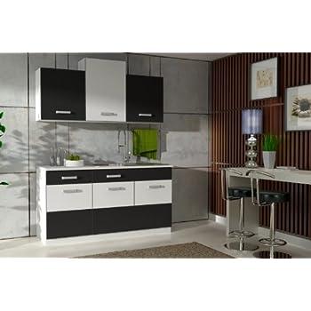 Küche fabienne 150 cm küchenzeile in schwarz weiß küchenblock variabel stellbar
