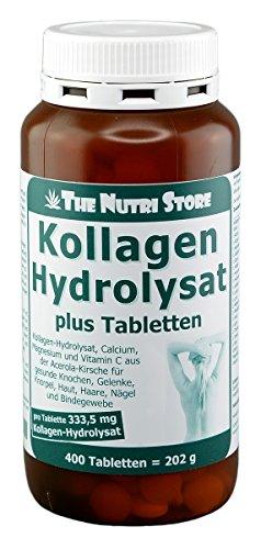 Kollagen Hydrolysat Tabletten plus 400 Stk. - Kollagen-Hydrolysat, Calcium, Magnesium und Vitamin C aus der Acerola-Kirsche für gesunde Knochen, Gelenke, Knorpel, Haut, Haare, Nägel und Bindegewebe (Kollagen-tabletten Für Haut)