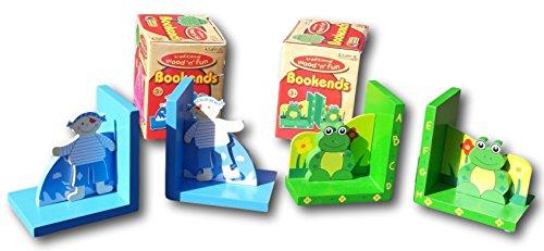Set von zwei Holz Frosch und Piraten Buchstützen perfekt für ein Kinderzimmer Schlafzimmer