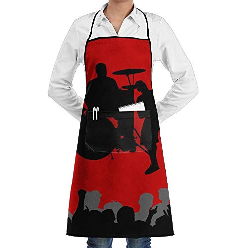 GDESFR Apron with Pock,Music Vectors Shadows Crowd Band Red Background Fashion Waterproof Durable Apron with Pockets for Women Men Chef