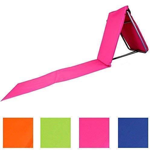 """Faltbare Strandliege mit Lehne und Tasche in 4 sommerlichen Farben Modell \""""RELAX\"""" inkl. unserem beliebten Wäschebeutel(Rosa)"""