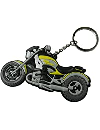 Techpro Soft Rubber Keychain Double Sided With Yellow Royal Enfield Bike Design