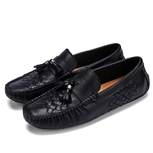 GRRONG Chaussures En Cuir Pour Hommes Chaussures Pois Bouche Peu Profonde De Loisirs Perméable à Lair Black