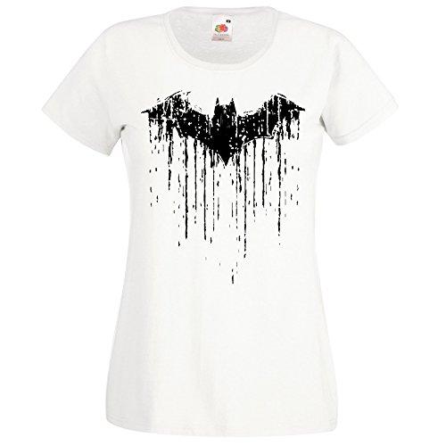(TRVPPY Damen T-Shirt Modell Vintage Batman 2 Farbe Weiß Größe M)