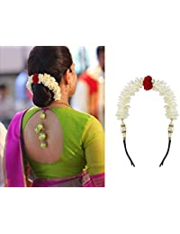 Foreign Holics White Flower Gajra with Attached Hair Pins-2 Pieces