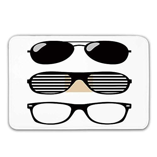 Kinhevao Indie rutschfeste Gummiteppich Eingang, Set stilisierte altmodische Sonnenbrille Sommer Accessoires Hipster Vintage dekorative Fußmatte für die Haustür Badematte