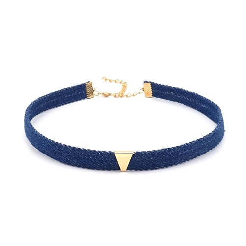 BENAVA Damen Denim Jeans Choker Kette Verstellbar Halsband Blau Gold 32-40 cm -
