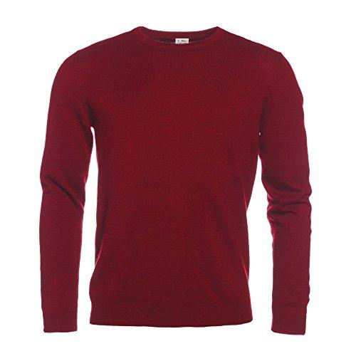 L. Bo Apparel, Cozy Collection: Maglione da Uomo Invernale Girocollo color Rosso bordeaux, Cotone e Cashmere S
