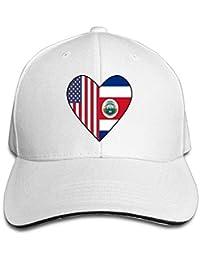 Unisex Half Costa Rica Flag Half USA Flag Love Heart Adult Sandwich Cap