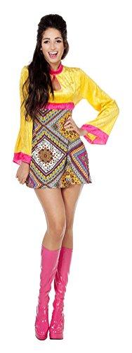 (Karneval Klamotten Hippie Kleid Kostüm Damen Flower-Power Kostüm Damen Retro Karneval 60er Jahre Damen-Kostüm Größe 42)