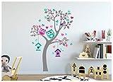 Wandtattoo kinder Babyzimmer Aufkleber Eule Eulen Wandsticker Wand Waldtiere Kinderzimmer Wandaufkleber Dekoration fürs Baby Kindergarten Baum XL Tiere