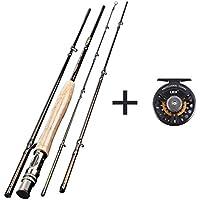 Profesional para pesca con mosca Rod, ligero Ultra portátil grafito para pesca con mosca carrete de caña de pescar (4unidades) 6,4con, guías de acero duro, un corcho agarre (5–6#)
