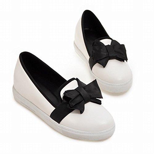MissSaSa Femmes Escarpins Fermetures à Enfiler Chaussures Plateforme Blanc