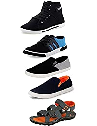 Tempo Men's Combo Packs of 2 Sneakers,1 Loafers & 2Sandals
