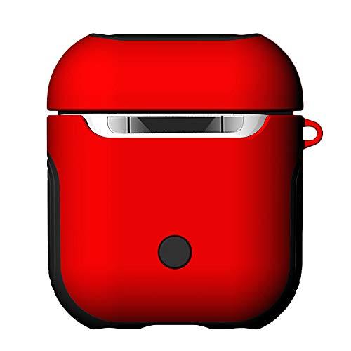Webla Texture Folding Silikonhülle Rot Silikon Hülle für Apple Airpods Mit Anti-Lost Schlüsselanhänger Glitter (Rot) - Navy Leder Schlüsselanhänger