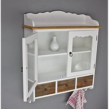 Wandschrank mit Glastüren Wandregal weiß Holz shabby