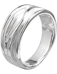 Vinani Ring Baum Rillen sandgestrahlt glänzend Sterling Silber 925 RER