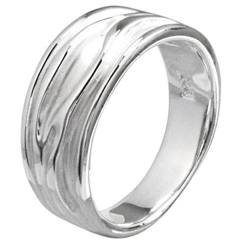 Vinani Ring Baum Rillen sandgestrahlt glänzend Sterling Silber 925 Größe 60 (19.1) RER60