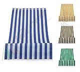 Tenda da Sole a Righe per Balcone Veranda o Terrazzo con Anelli e Ganci Tessuto Resistente da Esterno Misura cm 140x250 Colore Blu