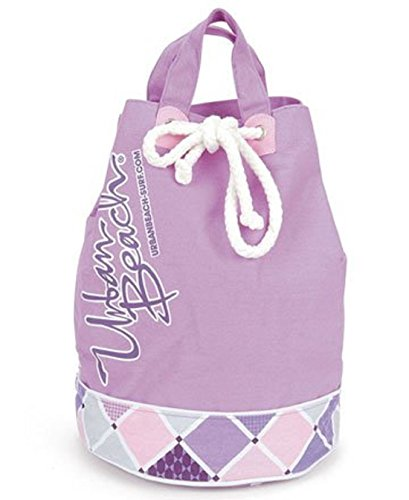 Large Canvas Drawstring Top, Beach Accessory Duffle Style Holiday Swimming Bag verde - viola